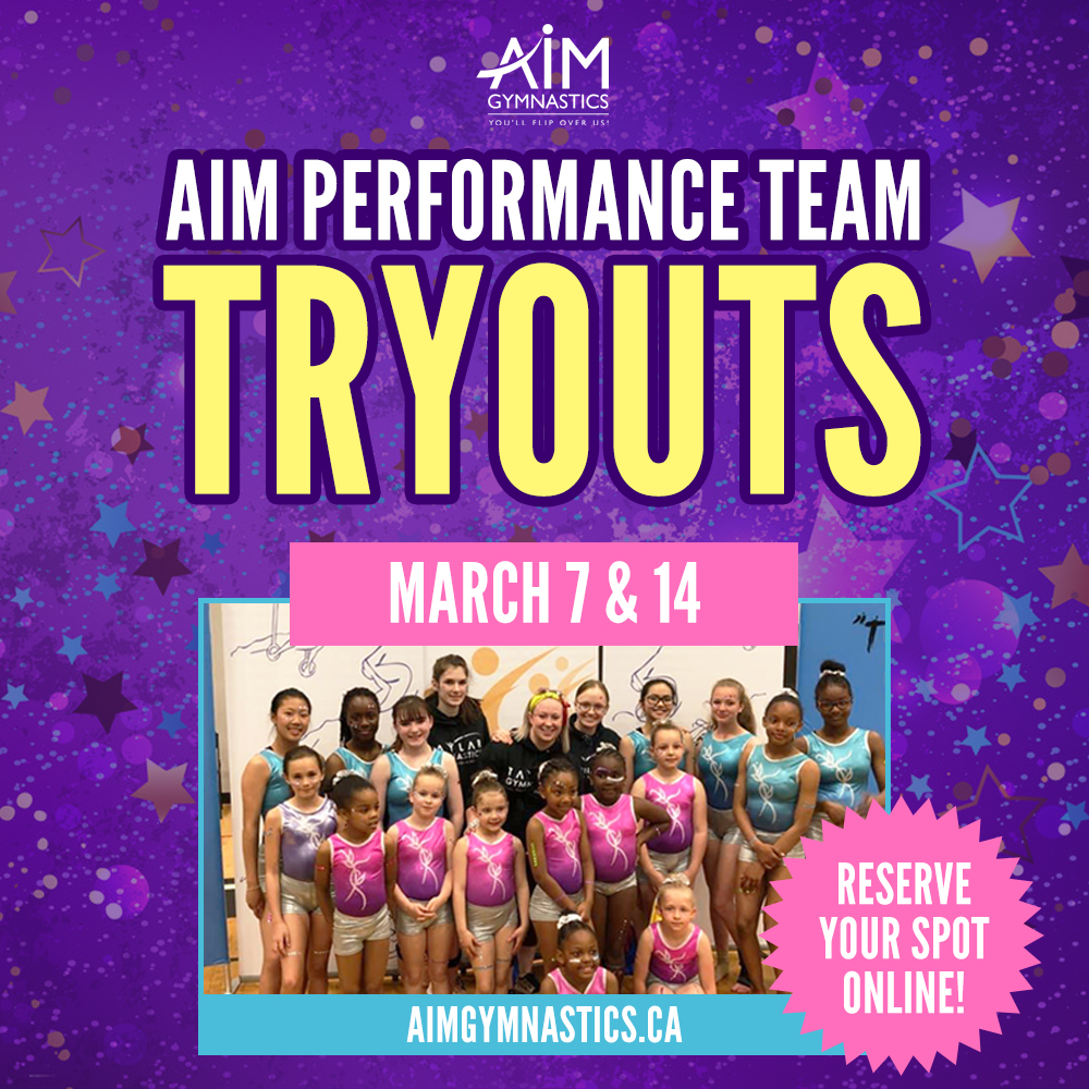 Purple banner advertising Performance Team Tryouts. A photo of the current team smiling and posing for a photo. The tryout dates of March 7 and 14 are listed.