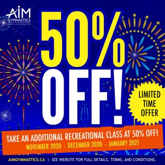 Banner advertising 50% off an additional class in the months of November 2020, December 2020, and January 2021.